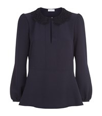 Claudie Pierlot Ballerine Lace Collar Blouse Female Blue