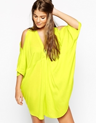 Asos V Front Cold Shoulder Beach Cover Up Charteuse