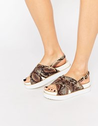 Park Lane Cross Strap Flatform Sandals Mu1 Multi 1