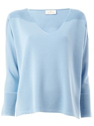 Maison Ullens Ribbed Shoulders Knitted Blouse Blue