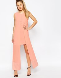 Jovonna What For Dress With Chiffon Overlay Pink