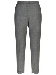 Jaeger Wide Leg Prince Of Wales Trousers Black Ivory