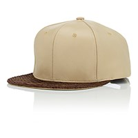 Just Don Men's Leather And Python Baseball Cap Tan
