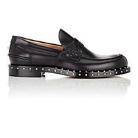 Valentino Men's Soul Rockstud Leather Loafers Blue