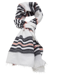 Lemlem Striped Raw Edge Scarf White
