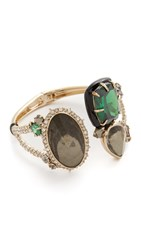 Alexis Bittar Custom Gemstone Hinged Bracelet Gold Multi