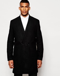 Asos Collarless Double Breasted Overcoat In Black