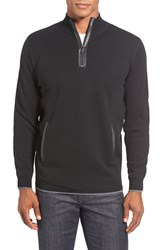 Men's Bugatchi Leather Trim Quarter Zip Sweater