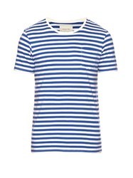 Solid And Striped Crew Neck T Shirt Blue Multi