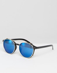 Jeepers Peepers Round Sunglasses With Blue Lens Blue