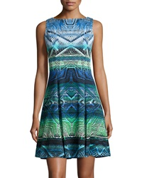 Maggy London Sleeveless Tribal Print Fit And Flare Dress Mint Blue