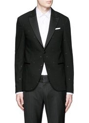 Neil Barrett Rubberised Star Print Tuxedo Blazer Black