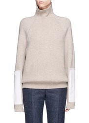 Victoria Beckham Military Elbow Patch Turtleneck Wool Sweater Neutral