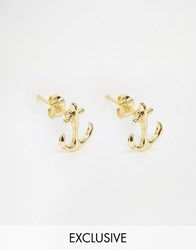 Reclaimed Vintage Anchor Stud Earrings In Gold Gold