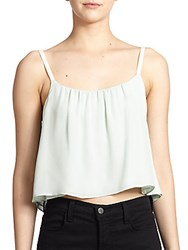 Alice Olivia Lucy Cropped Silk Trapeze Tank Light Aqua