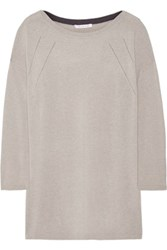Duffy Pointelle Trimmed Cashmere Sweater Light Gray