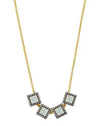 Freida Rothman Two Tone Pave Square Aqua Crystal Station Necklace Women's