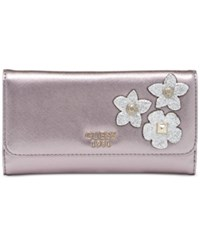 Guess Liya Slim Clutch Wallet Pewter