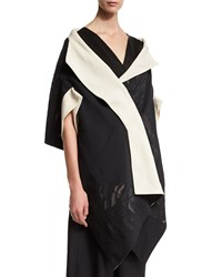 Donna Karan Lotus Leaf Bicolor Jacquard Kimono Wrap Women's Black Ecru