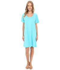 Fresh Produce Pinstripe Allure T Shirt Dress Luna Turquoise Women's Dress Blue