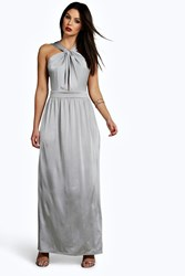Boohoo Slinky Knotted Front Maxi Dress Silver