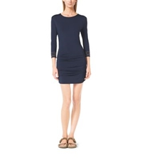 Michael Kors Shirred Stretch Cover Up Navy