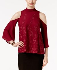 Eci Cold Shoulder Lace Applique Top Berry