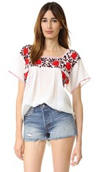 Nili Lotan Embroidered Spanish Top Semi Bld W
