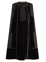 Roland Mouret Keaats Velvet Panelled Cape Black