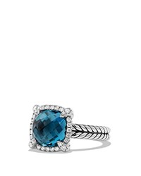David Yurman Chatelaine Pave Bezel Ring With Hampton Blue Topaz And Diamonds Blue Silver