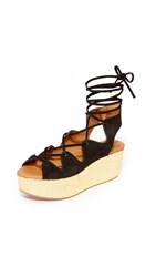 See By Chloe Lilly Wedge Lace Up Sandals Nero