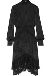 Saloni Isa Lace Trimmed Fil Coupe Dress Black