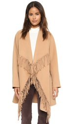 J.O.A. Cascade Fringe Coat Light Brown
