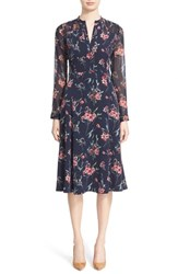 Nordstrom Caroline Issa Women's Signature And Pintuck Floral Print Stretch Silk Dress