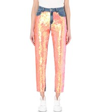 Au Jour Le Jour Sequin Embellished Slim Fit Tapered High Rise Jeans Light Denim And Sequins