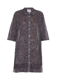 By Walid Floral Print Pleated Hem Cotton Shirt Dress Blue Print