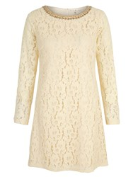 Yumi Lace Embellished Long Sleeve Shift Dress Cream