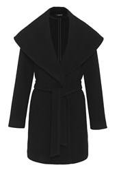 Hallhuber Wrap Jacket With Large Shawl Collar Black