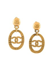 Chanel Vintage Logo Plaque Clip On Earrings Metallic