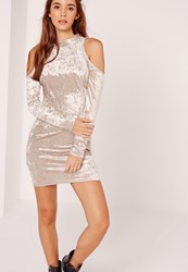 Missguided Cold Shoulder Velvet Bodycon Dress Cream Champagne