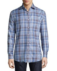 Neiman Marcus Classic Fit Non Iron Plaid Sport Shirt Blue Brown