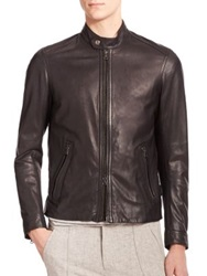 Vince Leather Moto Jacket Black