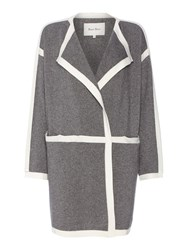 Part Two Chic Contrast Trim Coat Cardigan Grey