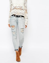 Only Coral Low Rise Bleached Skinny Jeans With Distressing Blue