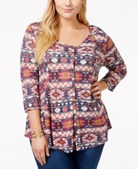 Lucky Brand Plus Size Aztec Print Blouse