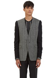 Lanvin Deconstructed Inside Out Sleeved Micro Tweed Blazer Jacket Black