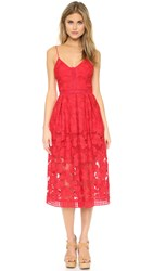 Nicholas Floral Lace Rouleau Ball Dress Hibiscus Red