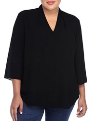 Nydj Plus Solid V Neck Tunic Black