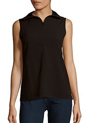 French Connection Sleeveless Zip Front T Shirt Black