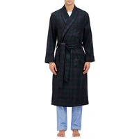 Barneys New York Plaid Robe Navy